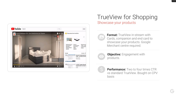Voorbeeld TrueView for Shopping YouTube ad