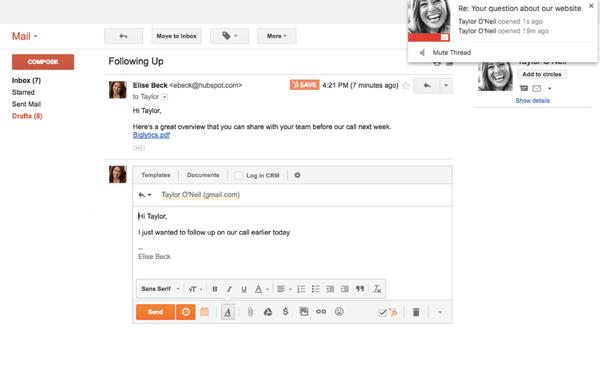 HubSpot-CRM werkt met je mailprogramma
