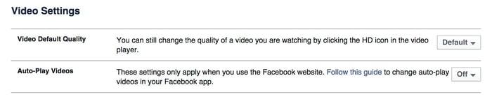 Facebook videosettings