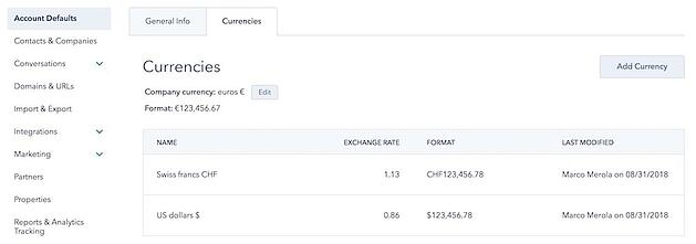hubspot multi currency