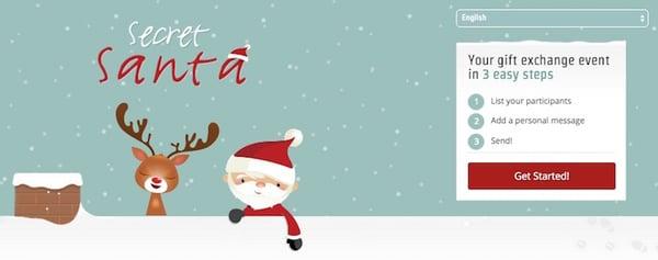 De website van Secret Santa Organizer