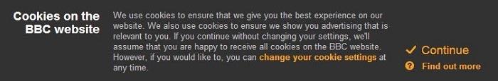 Een voorbeeld van een cookiebanner van de website van de BBC