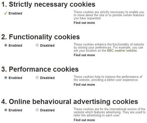 Een voorbeeld van cookie settings van de website van de BBC