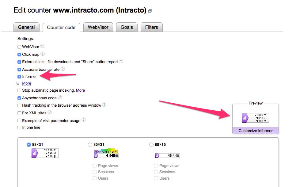 yandex metrica tracking code