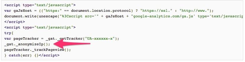 Classic google analytics - AnonymizeIP