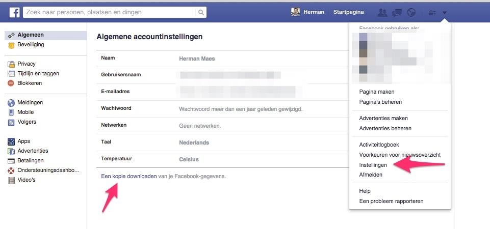 facebook archief downloaden