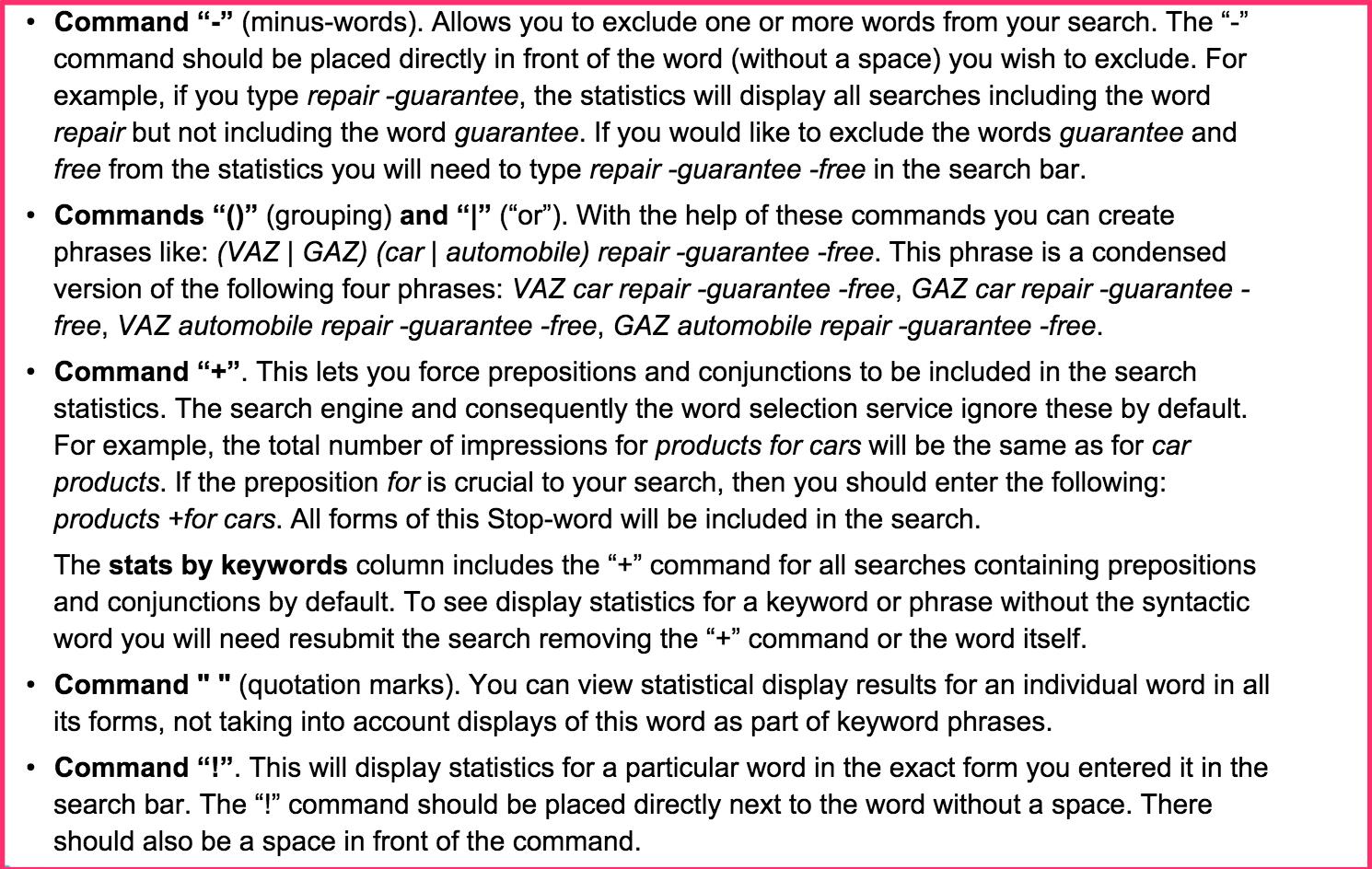yandex direct zoekwoorden combineren