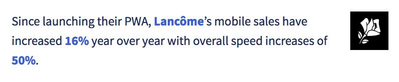 Lancome example PWA